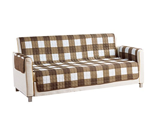 Quick Fit Alba Reversible Waterproof Slipcover for Sofa Couch Cover, Taupe-Chocolate