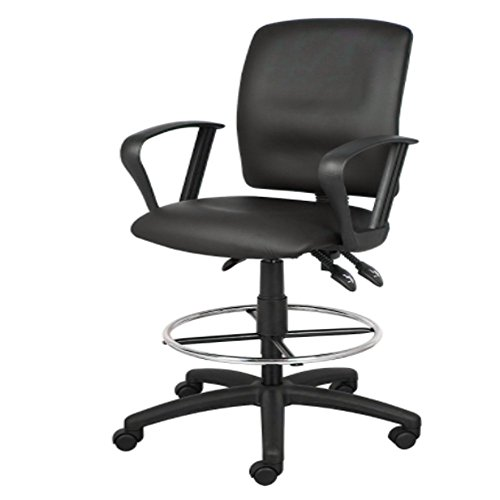 Loop Arm Drafting Stool - Drafting Stool Chair Office Rolling Swivel Ergonomic Portable Adjustable Height Loop Arms Black & e-book by Amglobalsupplies