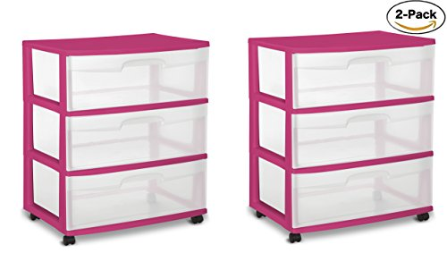 Sterilite 29305V01 Wide 3 Drawer Cart, Fuchsia Supreme Frame with Clear Drawers and Black Casters, 2-Pack by STERILITE