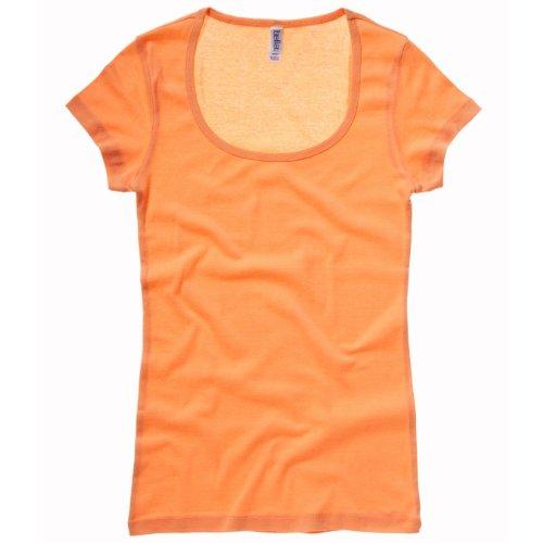 Sheer Rib Scoop Neck T-shirt COLOUR Orange Sorbet SIZE M