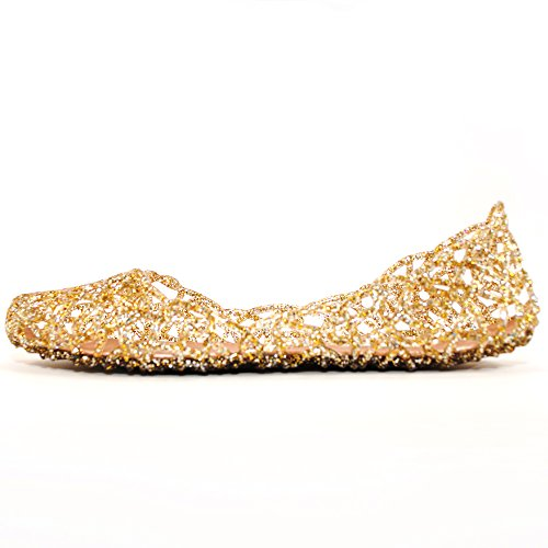 Women's Bird Nest Layered Lines Jelly Flat Sandals (6, Champagne)
