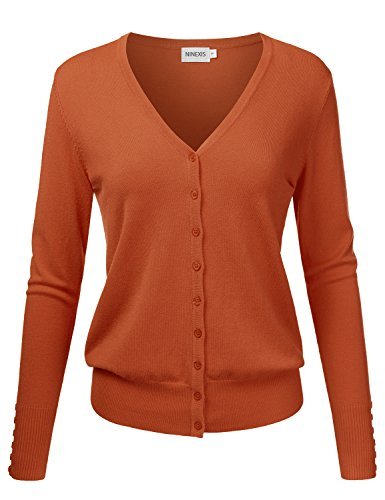 NINEXIS Womens Basic Long Sleeve V-Neck Button Down Knit Cardigan Sweater Rust M