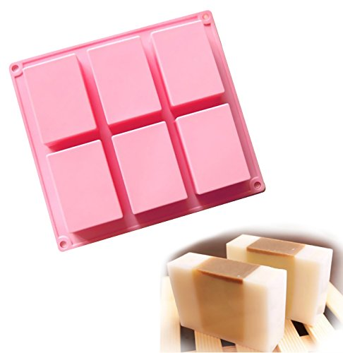 Ozera 6 Cavities Rectangle Silicone Soap Molds, Baking Mold Cake Pan, Biscuit Chocolate Mold, Ice Cube Tray
