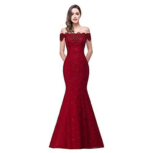 2016 off shoulder lace red Mermaid Evening Formal Bridesmaid dress ,Burgundy,10