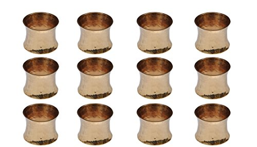 Yourtablecloth Napkin Rings or Napkin Holders - Enhanced & Appealing Table Décor for Weddings, Parties, Christmas, New Year or Every Day Use-Hammered Gold Napkin Rings- Set of 12