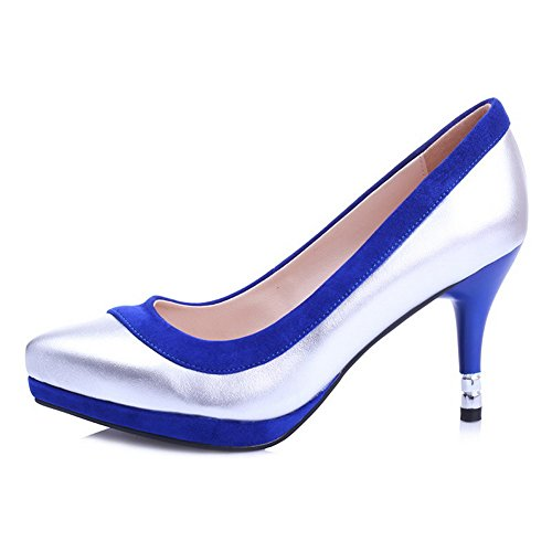 AmoonyFashion Womens Closed-Toe Pointed-Toe High-Heels Pumps-Shoes With Burnished and Non-Slipping Sole Silverblue bLstzVCcKj