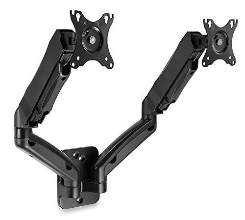 (Mount-It! Dual Monitor Wall Mount Arms | Double Monitor Wall Mount | Two Full Motion Adjustable Articulating Gas Spring Arms | Fits 19 20 21 22 24 27 Inch Computer Screens with 75 or 100 VESA Patterns )