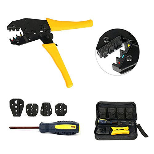 YaeTek Crimping Tool For Insulated Electrical Connectors - Ratcheting Wire Crimper - Crimping Pliers - Ratchet Terminal Crimper with 5 Changeable Die Sets in Oxford Bag