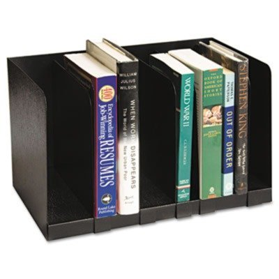 Six Section Book Rack w/Dividers, Steel, 15 x 9 1/4 x 9 1/4, Black by Buddy (Buddy Products Six Section)