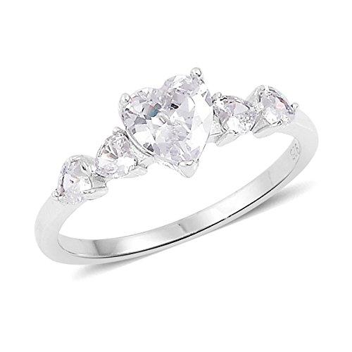 925 Sterling Silver Fancy White Cubic Zirconia Heart Fashion Ring For Women Size 10