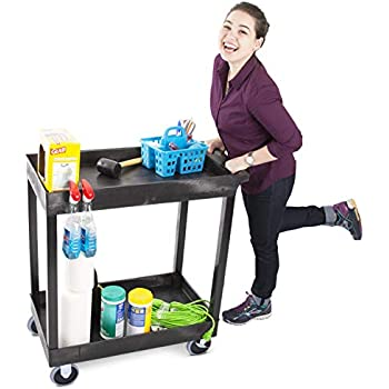 Original Tubster Heavy Duty 32 x 18 inches - Shelf Utility Cart/Service Cart - Supports up to 500 lbs! - Tub Carts & Deep Shelves (2 Shelf)
