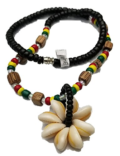 BUNFIREs Rasta Cowrie Shell Flower Pendant Wood Bead Necklace Choker Rasta Colored Coconut Wood Beads