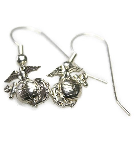 Continuum Sterling Silver 1/2 by 1/2 Inch USMC Earrings on French Wire Hook Marina Jewelry Earrings