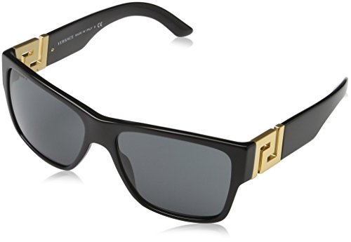 Versace Men's VE4296 Sunglasses Black/Gray - 87 Sunglasses Acetate