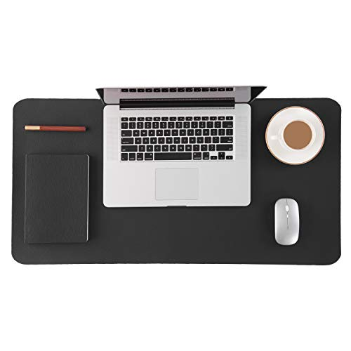 (Homesure Desk Pad Mouse Pad(Genuine Leather,Black,17x35 inches,Waterproof,Non Slip Base) Desk mat Desk Blotter for Computer for Home Office Desk Supplies)