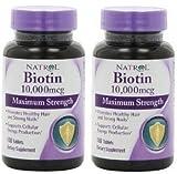 Natrol Biotin 10,000mcg, Maximum Strength, 100 Tablets [Kitchen] (200 tablets)