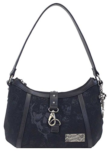 (Harley-Davidson Women's Black Skull Jacquard Horizontal HOBO Purse SJ4942J-BLACK)