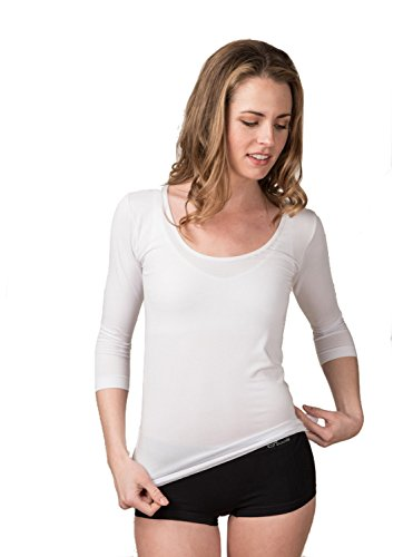 Boody Body EcoWear Women's Scoop Neck Long Sleeve Top Made from Natural Organic Bamboo Viscose – Soft Breathable Eco Fashion for Sensitive Skin - White, ()