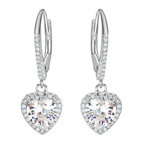 Heart Leverback Earrings - EleQueen 925 Sterling Silver Full Cubic Zirconia Love Heart Bridal Leverback Drop Earrings Clear