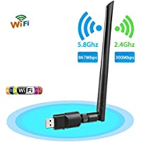 Wireless USB Wifi Adapter, EEEKit 1200Mbps 2.4GHz/5GHz Dual Band WIFI Adapter 802.11AC Wireless USB 3.0 Network w/Antenna for Computer PC Laptop Win 10/8/7/XP,MAC,Linux System