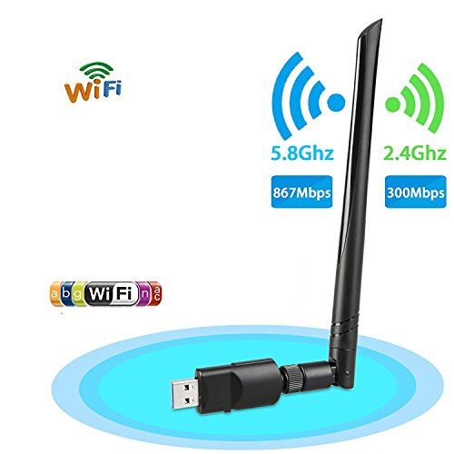 Wireless USB Wifi Adapter, EEEKit 1200Mbps 2.4GHz/5GHz Dual Band WIFI Adapter 802.11AC Wireless USB 3.0 Network w/Antenna for Computer PC Laptop Win 10/8/7/XP,MAC,Linux System by EEEKit