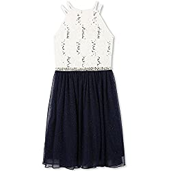 Girls Big Sequin High Neck Lace Dress