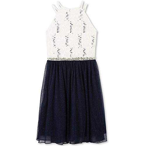 Speechless Big Girls' Sequin Lace/Mesh Tulle High Neck Dress, Ivory Navy, 16