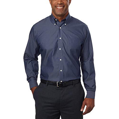 Kirkland Signature Men's Button Down Dress Shirt Traditional Fit (17-34/35, Navy Dot)