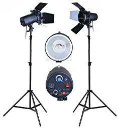 Ardinbir Studio Photo 320w 5600K DayLight Video Slave Master Strobe Monolight Flash Light Stand Kit with Dimmer Control and Barndoor