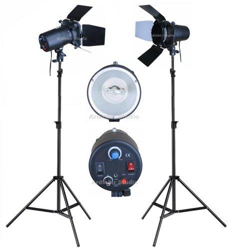 (Ardinbir Studio Photo 320w 5600K DayLight Video Slave Master Strobe Monolight Flash Light Stand Kit with Dimmer Control and Barndoor)