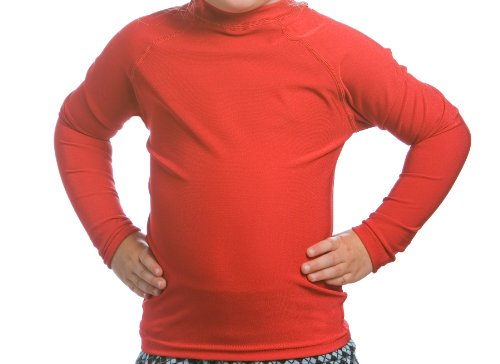Beach Depot Boys Rash Guard, UPF 50+ Long Sleeve Sun Protective Swim Shirt, Kids and Toddler Swimming Tees, Made in USA (2T, Kona Lava - Swimwear Kona