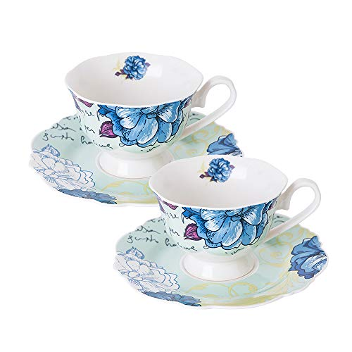 (Eileen's Reserve Bone China 4-Piece Tea Cup and Saucer Set, Blue Peony, Set of 2)