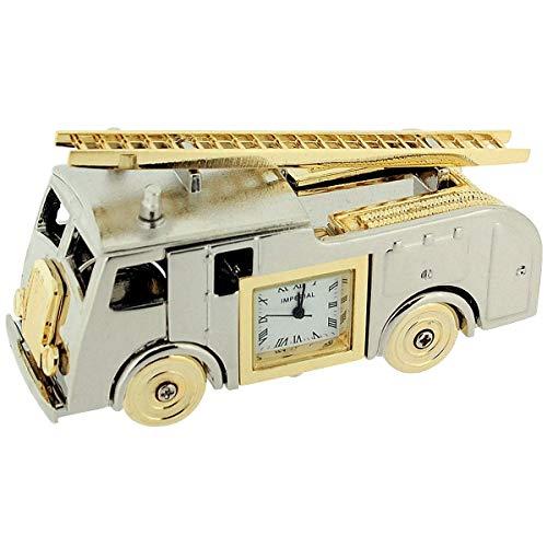 GTP Miniature Novelty Collectors Two Tone Metal Fire Engine Desktop Clock IMP1064AL