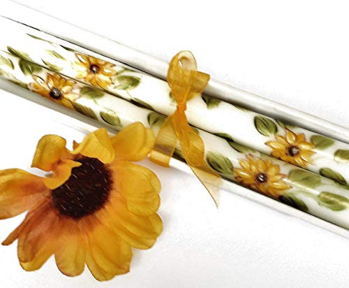 Floral Taper Candle - Hand Painted Decorated Decorative Dripless Yellow Sunflower Taper Candles Boho Home Decor Hippie Decorations