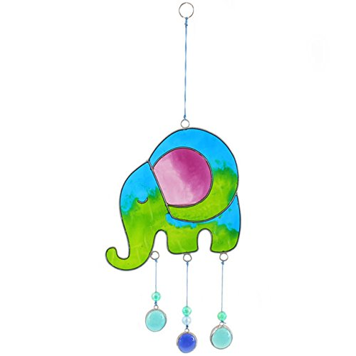 Jones Home and Gift Something Different Elephant Sun Catcher, Blue/Green from Jones Home and Gift