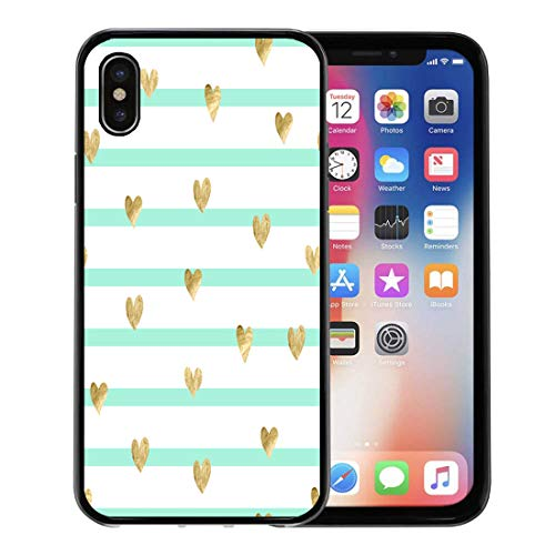 Semtomn Phone Case for Apple iPhone Xs case,Mint Striped Pattern Gold Hearts Abstract Clipart Love Modern Simple for iPhone X Case,Rubber Border Protective Case,Black