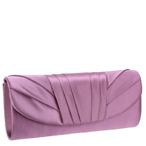 Jessica McClintock V91017 Satin Clutch – Lilac, Bags Central