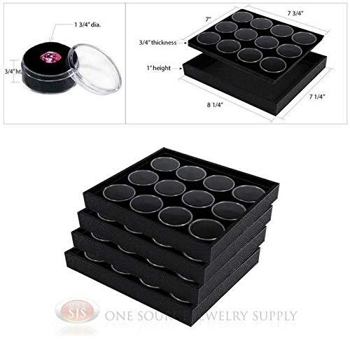 - OSJS (4) Black Wooden Trays w/Black 12 Gem Jar Inserts Jewelry Gemstone Display