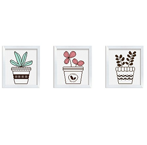 Cross stitch kits for Plant flowers and plants - Eafior 3PCS/Set DIY Handmade Needlework Embroidery Kits Simple modern flowers and plants pattern printed design Home Decoration Wall Decor (No frame)
