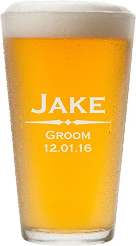Personalized Pint Glasses - ANY TEXT, Custom Engraved Pint Glasses for Beer, 16 oz - PG01