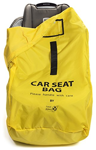 Travel Babeez Durable Car Seat Travel Bag, Airport Gate Check Bag with Easy-to-Carry Backpack-Style Shoulder Straps & Drawstring Closure | Ballistic Nylon (Yellow) (Air Tickets Purchase compare prices)