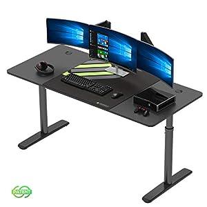 """EUREKA ERGONOMIC Computer Desk Office Desk Height Adjustable PC Laptop 60"""" Large Modern Simple Study Desk Workstation…"""