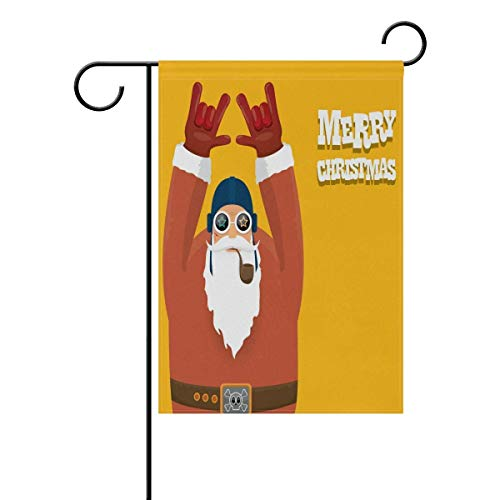 Johnnie Welcome Garden Flag 12 X 18 Inches, Double Sided Seasonal Outdoor Flag and Best for Party Yard Home Decor, Santa with Smoking Pipe Printed for Christmas ()
