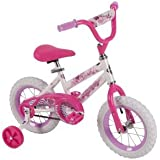 """Huffy 52896 12"""" Steel Bicycle Frame Girls' Sea Star Bike, White/Pink Color"""