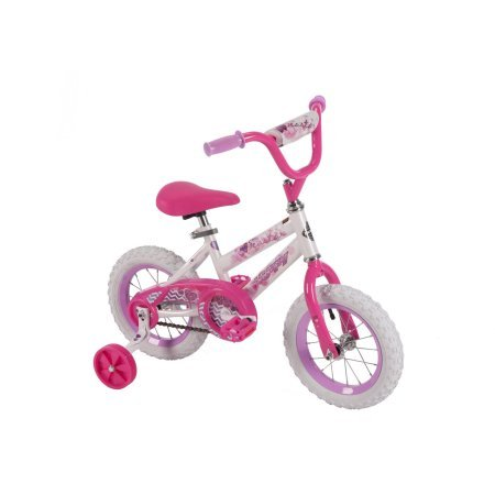 "Huffy 52896 12"" Steel Bicycle Frame Girls' Sea Star Bike, White/Pink Color"