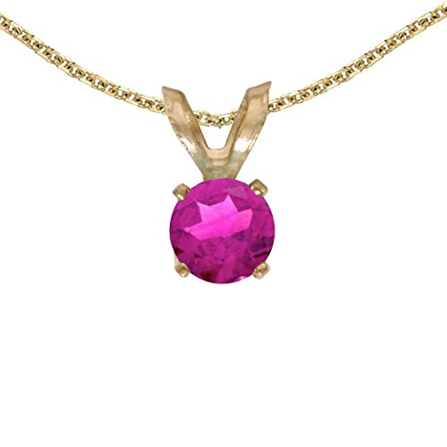 FB Jewels Solid 14k Yellow Gold Genuine Birthstone Round Pink Topaz Pendant (0.3 Cttw.)