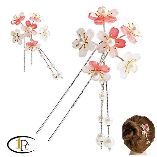 FINGER LOVE Acrylic 2-Prong Hair Stick Fork Hairpin with Gradient Flower Cluster & Faux Pearl Tassels (A Pink)