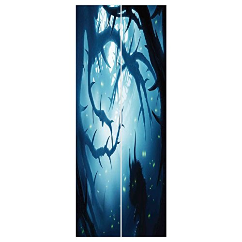 3d Door Wall Mural Wallpaper Stickers [ Mystic House Decor,Animal with Burning Eyes in Dark Forest at Night Horror Halloween Illustration,Navy White ] Mural Door Wall Stickers Wallpaper Mural DIY Home ()