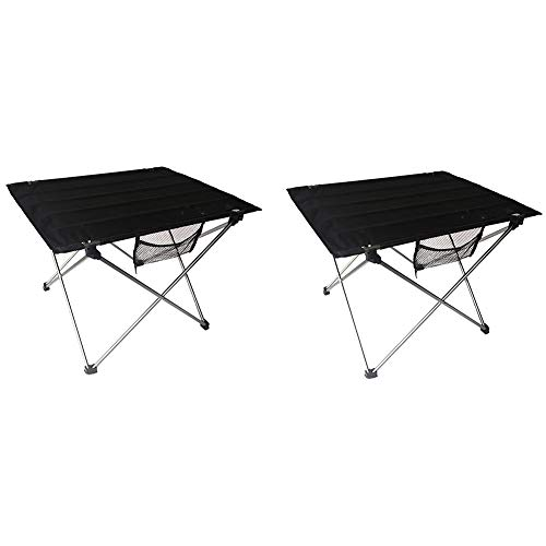 QLPP Tragbare Camping-Side-Tische mit Aluminium-Tisch Top, Klapptisch in Einer Tasche für Picknick, Camp, Strand, Stiefel, Nützlich für Essen und Kochen mit Burner,B,2pcs
