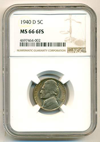 1940 D Jefferson Nickel MS66 6FS NGC (Nickel Jefferson Mint Ngc)